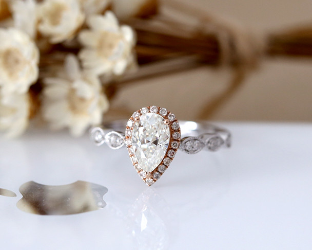 Stackable Pear Cut Moissanite Engagement Ring Solid 14K White Gold Moissanite Ring