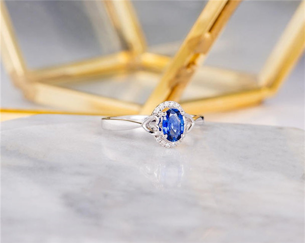 Lab Sapphire Engagement Ring Bridal Promise Ring Half Eternity Birthstone Anniversary Gift