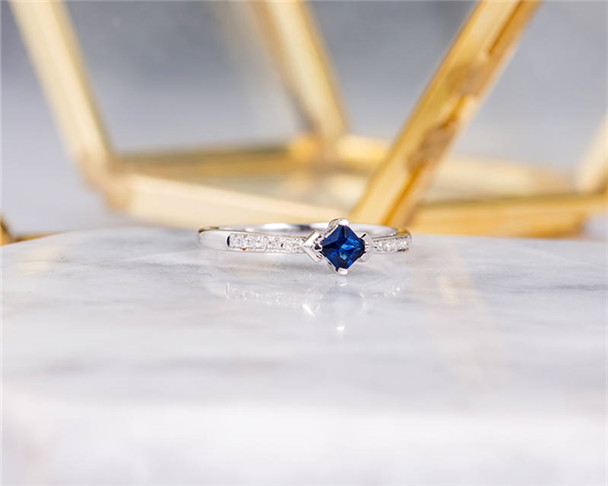 Natural Sapphire Anniversary Ring Cushion Cut Diamond Promise White Gold Birthstone September