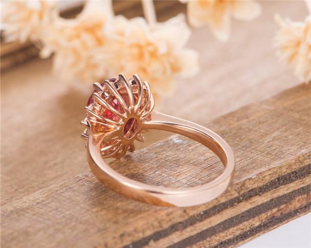 Oval Cut Lab Sapphire Rose Gold Halo Moissanite Diana Women Promise Birthstone September