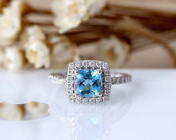 6mm Csuhion Cut VS Natural Blue Topaz Ring Solid 14K White Gold Wedding Ring Topaz Engagement Ring