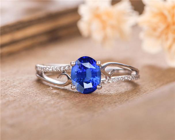 Blue Sapphire Engagement Ring White Gold Diamond Half Eternity Anniversary