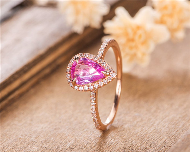Pear Shaped Rose Gold Pink Sapphire Halo Diamond Women Birthstone Ring Anniversary Gift For Her Tear
