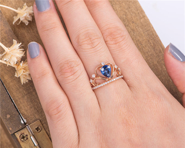Lab Sapphire Ring Princess Rose Gold Diamond Women Bridal Birthstone Anniversary Gift For Her Pear Shaped