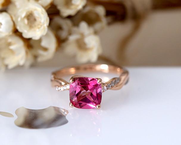 Natural Pink Topaz Ring! Cushion Cut Topaz Ring Solid 14K Rose Gold Ring