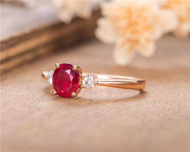 Rose Gold Engagement Ring Lab Ruby Diamond Wedding Half Eternity Birthstone July Anniversary Gift
