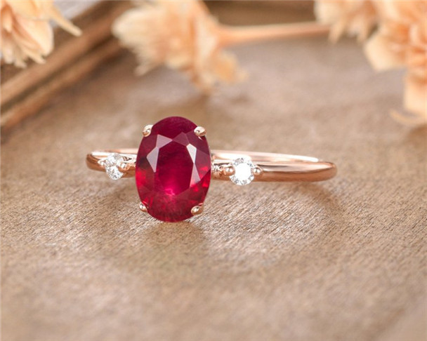 Lab Ruby Engagement Ring Rose Gold Oval Cut Diamond Birthstone Minimalist Promise Women Anniversary