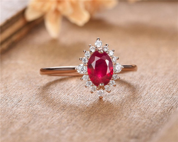 Lab Ruby Engagement Ring Rose Gold Oval Cut Moissanite Anniversary Gift For Women July Birthstone