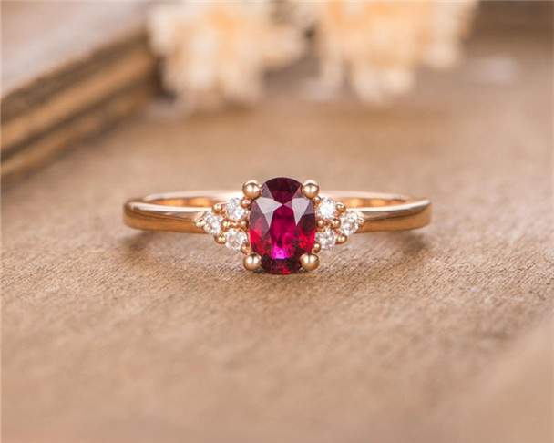 Rose Gold Engagement Ring Lab Ruby Bridal Diamond Half Eternity Birthstone  Anniversary Gift