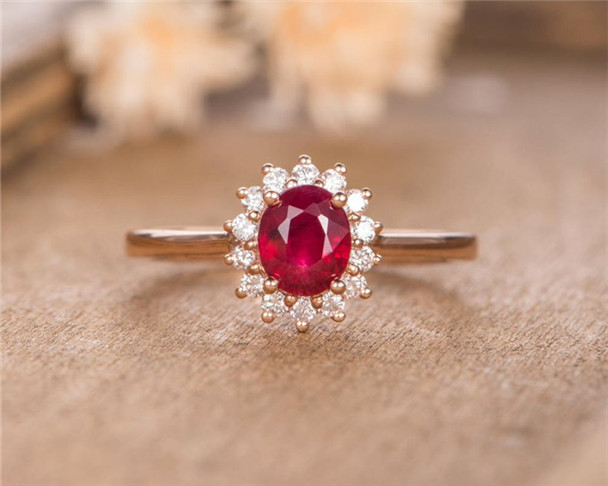 Rose Gold Engagement Ring Lab Ruby Diamond Wedding Half Eternity Anniversary Gift