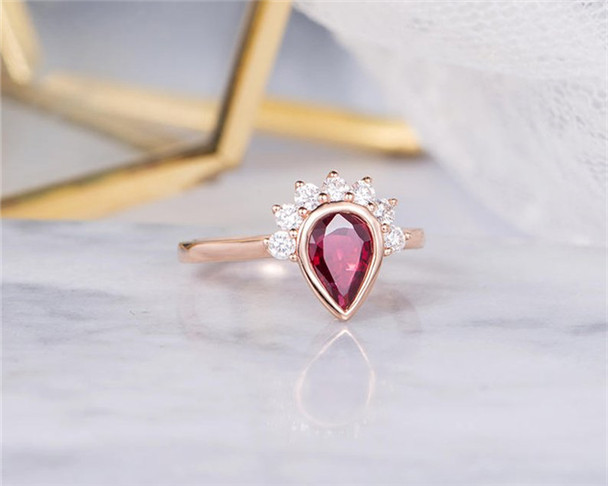 Lab Ruby Engagement Ring Rose Gold Pear Shaped Bezel Set Women Birthstone July Anniversary Gift