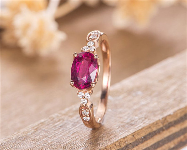 Lab Ruby Rose Gold Oval Cut Unique Diamond Bridal Ring Birthstone July Anniversary Gift For Women