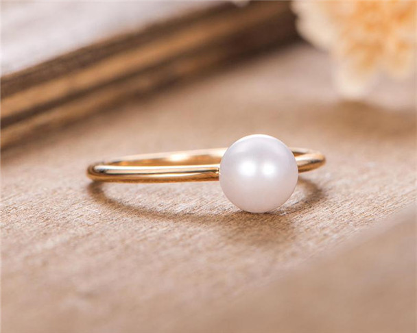 Solitaire Pearl Engagement Ring Akoya Plain Gold Band Birthstone Yellow Gold Bridal Anniversary Eternity