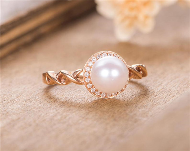Pearl Engagement Ring Halo Diamond Rose Gold Birthstone Anniversary Ring Half Eternity Promise Ring