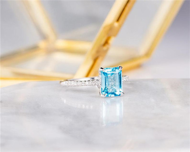 Blue Topaz Engagement Ring Emerald Cut Diamond Half Eternity Bridal Anniversary Ring Gift For Her