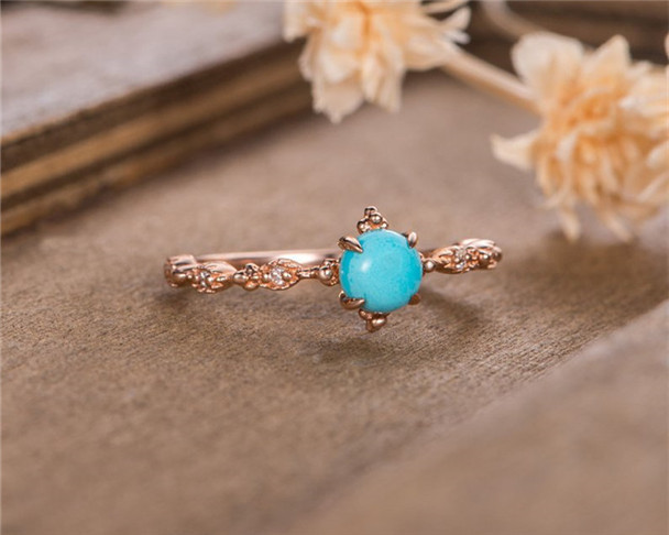 Rose Gold Engagement Ring Turquoise Promise Ring Diamond Half Eternity Solitaire Birthstone Anniversary