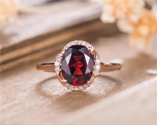 Garnet Engagement Ring Rose Gold Birthstone Diamond Oval Cut Unique Bridal Eternity Anniversary