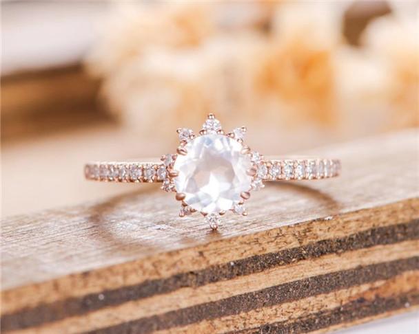 Rose Gold Moonstone Engagement Ring Halo Diamond Unique Bridal Half Eternity Anniversary Ring
