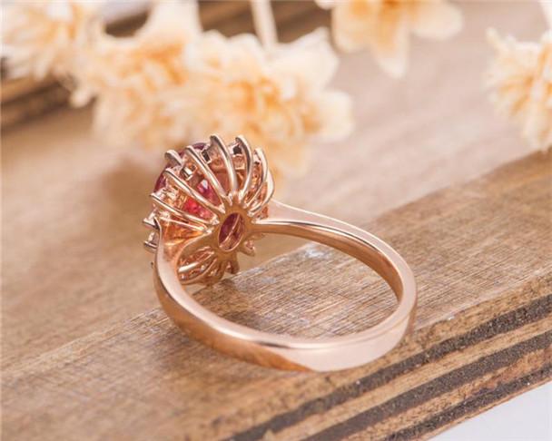 Rose Gold Tourmaline Engagement Ring Halo Bridal Women Wedding Ring Eternity Diamond Anniversary