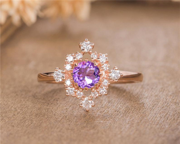 Rose Gold Amethyst Engagement Ring Diamond Halo Eternity Bridal Promise Birthstone Anniversary Gift