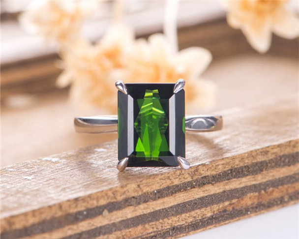Solitaire Tourmaline Engagement Ring White Gold Emerald Cut Bridal Ring Eternity Wedding Anniversary