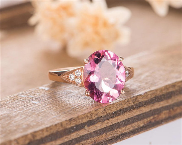 Oval Cut Engagement Ring Rose Gold Red Tourmaline Bridal Wedding Women Ring Anniversary Half Eternity