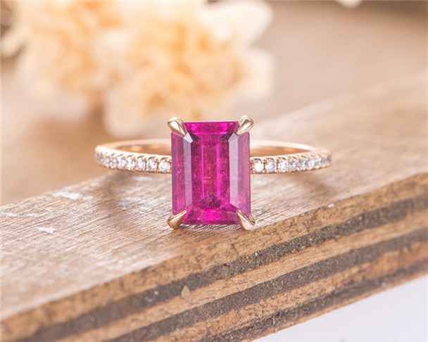 Rose Gold Engagement Ring Red Tourmaline Solitaire Emerald Cut Promise Anniversary Eternity Simple