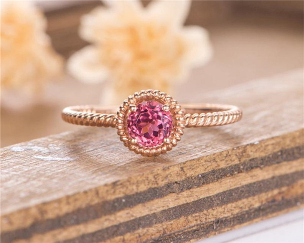 Rose Gold Engagement Ring Red Tourmaline Bezel Set Solitaire Bridal Promise Anniversary Eternity Simple