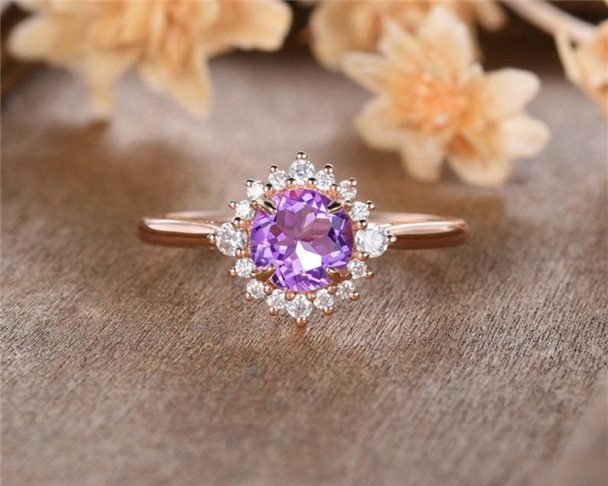 Rose Gold Amethyst Engagement Ring Round Cut Moissanite Halo Eternity Birthstone Promise Anniversary