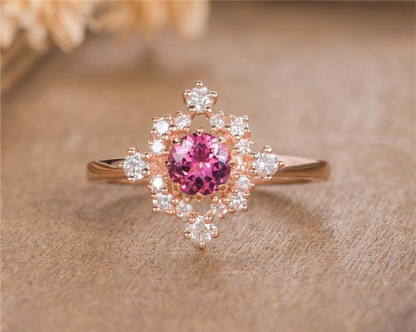 Natural Tourmaline Engagement Ring Rose Gold Diamond Halo Eternity Bridal Anniversary Gift Eternity Ring