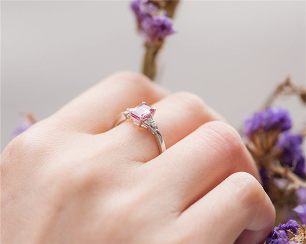 White Gold Engagement Ring Red Tourmaline Solitaire Emerald Cut Wedding Ring Promise Anniversary Ring