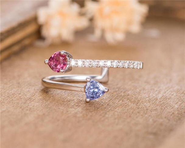 Unique Adjustable Open Wedding Band Cuff Tanzanite Red Tourmaline Pear Shaped Diamond Half Eternity