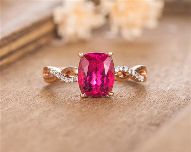 Rose Gold Engagement Ring Red Tourmaline Solitaire Cushion Cut Bridal Wedding Ring Promise Anniversary