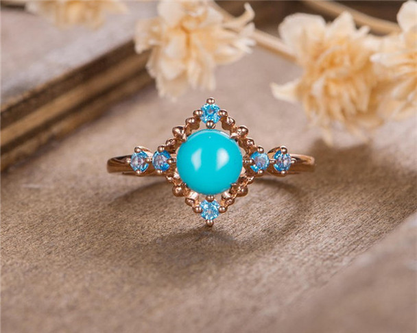 Turquoise Engagement Ring Rose Gold Blue Topaz Birthstone Bridal Half Eternity Promise Ring Anniversary