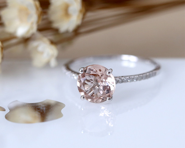 7mm Round Cut Light Pink Morganite Engagement Ring 14K White Gold Diamond Wedding Ring