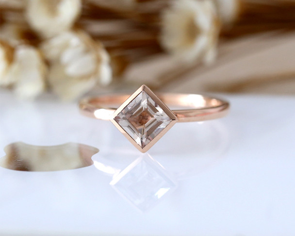 Mini 5mm Princess Cut Morganite Engagement Ring Plain Gold Setting Wedding Ring 14K Rose Gold Bridal Ring