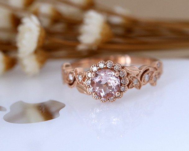 Gorgeous Engagement Ring 6mm Round Cut Natural VS Morganite Ring, Diamond Halo Wedding Ring 14K Rose Gold Ring Promise Ring Bridal Ring