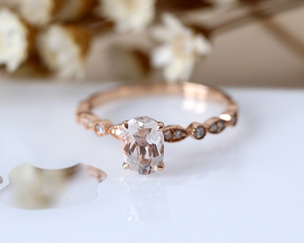 14K Rose Gold Engagement Ring 5*7mm Oval Cut Natural Morganite Ring Half Eternity Diamond Wedding Ring Stackable Bridal Ring
