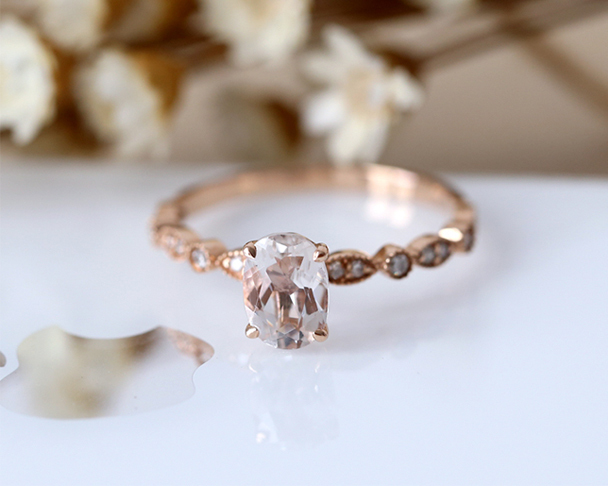 14K Rose Gold Engagement Ring 5*7mm Oval Cut Natural Morganite Ring Half Eternity Diamond Wedding Ring Stackable Bridal Ring