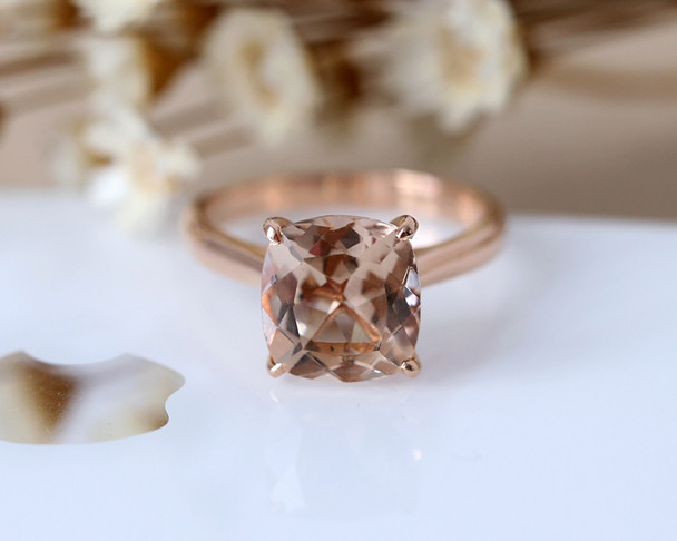 Large Stone! 9mm Cushion Cut Natural VS Pink Morganite Engagement Ring Plain Gold Shank 14K Rose Gold Wedding Ring Bridal Ring