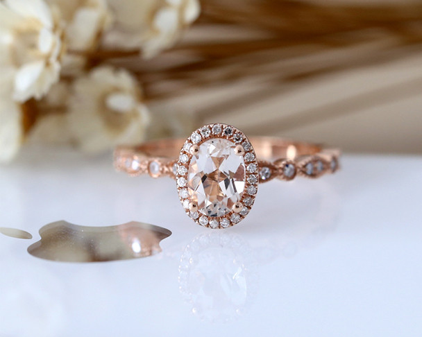 Half Eternity Diamond Ring 5*7mm Oval Cut Natural Light Pink Morganite Engagement Ring 14K Rose Gold Bridal Anniversary