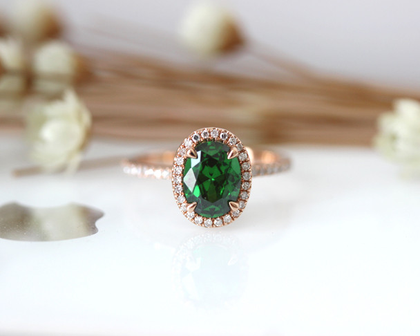 6*8mm Oval Cut Emerald Engagement Ring Solid 14K Rose Gold Bridal Ring