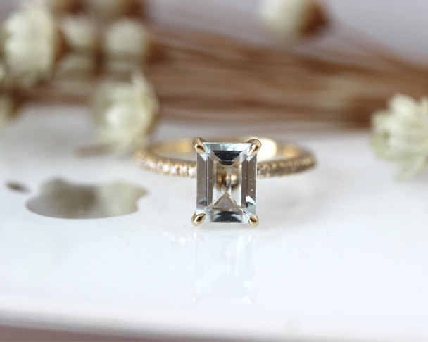 Gift! 6x8mm Oval Aquamarine Ring Solid 14K Yellow Gold Aquamarine Engagement Ring