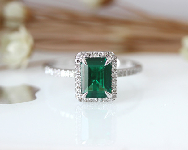 Emerald AAA Emerald Ring Solid 14K White Gold Wedding Ring Emerald Engagement Ring