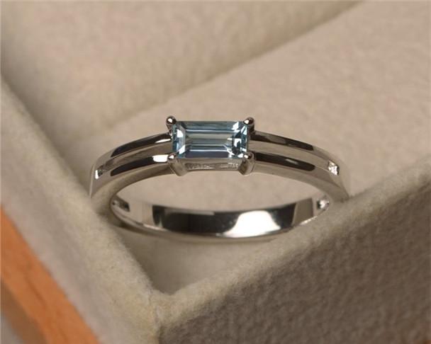 Aquamarine Engagement Ring,3*6mm Baguette Cut Ring,Sterling Silver Engagement Ring,Birthstone Ring