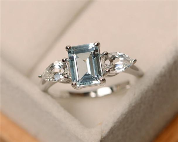 March Birthstone Ring,Aquamarine Ring,Emerald Cut Aquamarine,Sterling Silver,Gemstone Engagement Ring