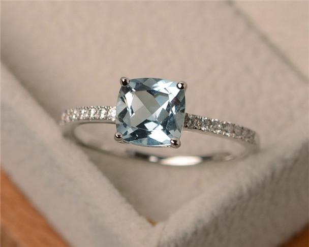 Aquamarine Ring,VS 7mm Cushion Cut Aquamarine Engagement Ring,Sterling Silver Ring,March Birthstone Ring