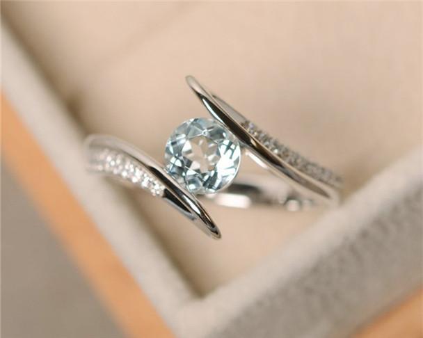 Aquamarine Ring,VS 6mm Round Cut Aquamarine Engagement Ring,Anniversary Ring,Silver Ring