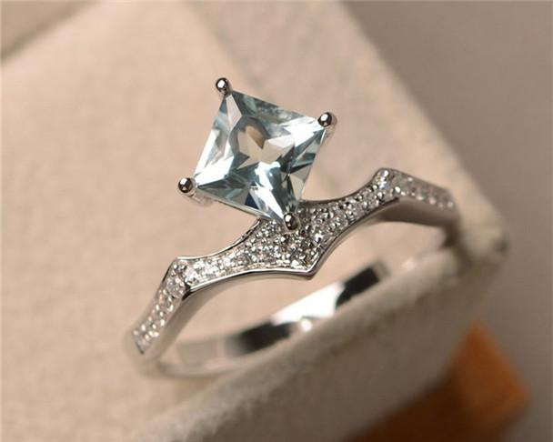 VS Aquamarine Ring,March Birthstone Ring,6mm Princess Cut,Sterling Silver,Engagement Ring