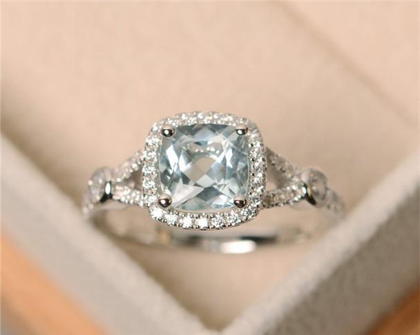 Aquamarine Ring,7MM Cushion Cut Engagement Ring,Wedding Ring,Anniversary Ring,March Birthstone,Halo Ring